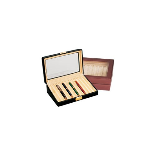 Leather Pen Box with Glass Top