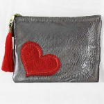 2-d Leather Makeup Bag: Large with Heart