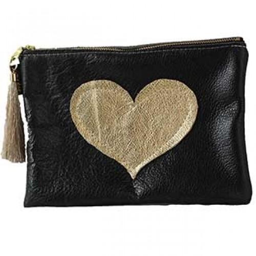 2-d Leather Makeup Bag: Xlarge w/Heart