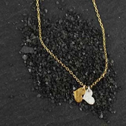 2 Tiny Flat Heart Charm Necklace
