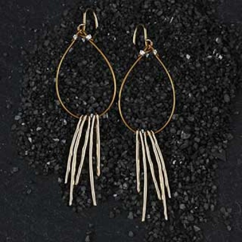5 Thin Hammered Stick Floating Earring