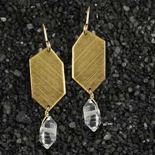 Big/Little Diamond Point & Herkimer Earring