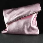 Adeline Foldover Leather Clutch: Medium