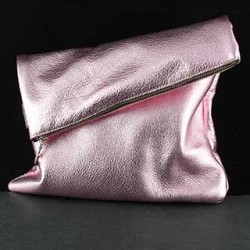 Adeline Foldover Leather Clutch: Medium