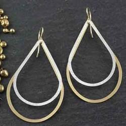 Double Flat Teardrop Earring: Large