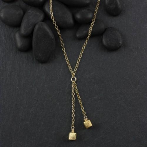 Faux Lariat Microcube Necklace