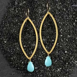 Flat Marquise with Smooth Turquoise Brio Earring