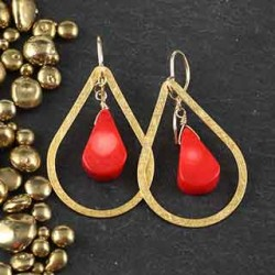 Flat Tear and Coral Briolette Earrings