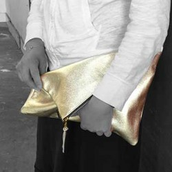 Hollis Foldover Leather Clutch: Large