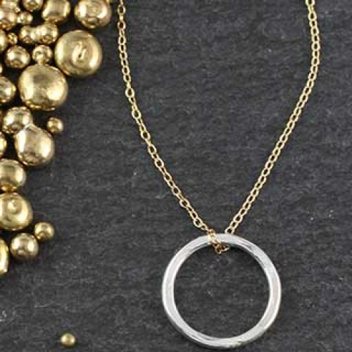 Lg Hammered Ring Necklace