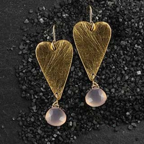 Long Heart Earring with Briolette