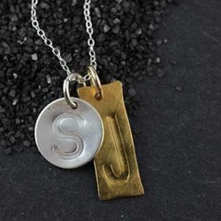Mixed Shape Embossed Initial Necklace