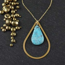 Open Tear with Turquoise Necklace