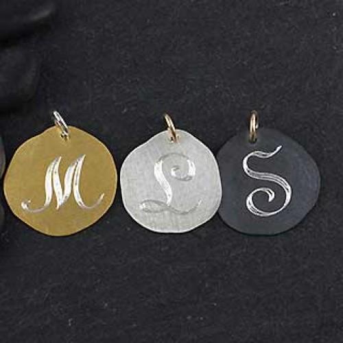 Organic Engraved Disc Charm: Medium/Initial