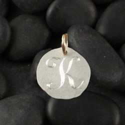 Organic Engraved Disc Charm: Small/initial