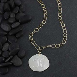 Organic Engraved Disc Necklace: Large/Initial