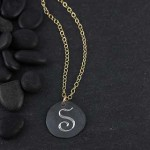 Organic Engraved Disc Necklace: Medium/Initial