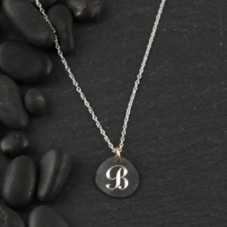 Organic Engraved Disc Necklace: Small/initial