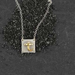 Riveted Initial Tiny Sq Necklace