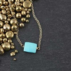 Small Faceted Turquoise Rectangle Necklace