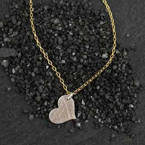 Small Flat Heart Charm Necklace