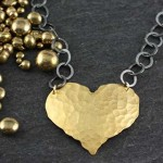 Textured Jumbo Heart Necklace: Hammered