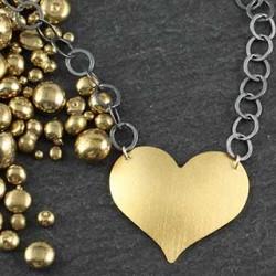 Textured Jumbo Heart Necklace: Satin