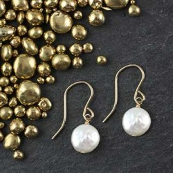 Tiny Coin Pearl Earring