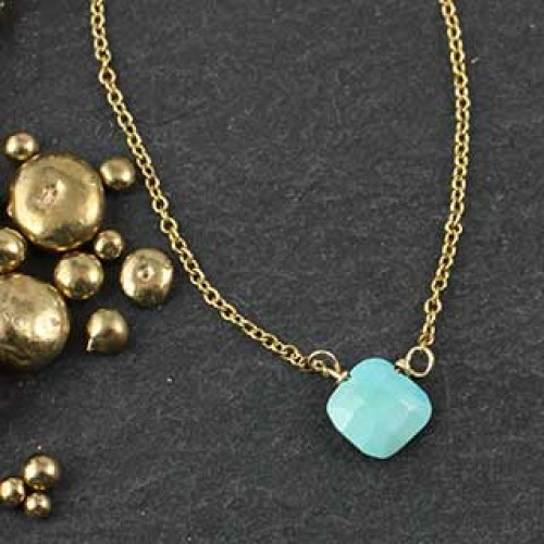 Tiny Faceted Turquoise Diamond Necklace