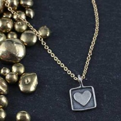 Tiny Heart in a Square Charm Necklace