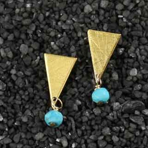 Triangle Post Earring w/Turquoise